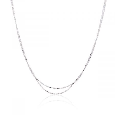 14k White Gold Double Row Chain Necklace