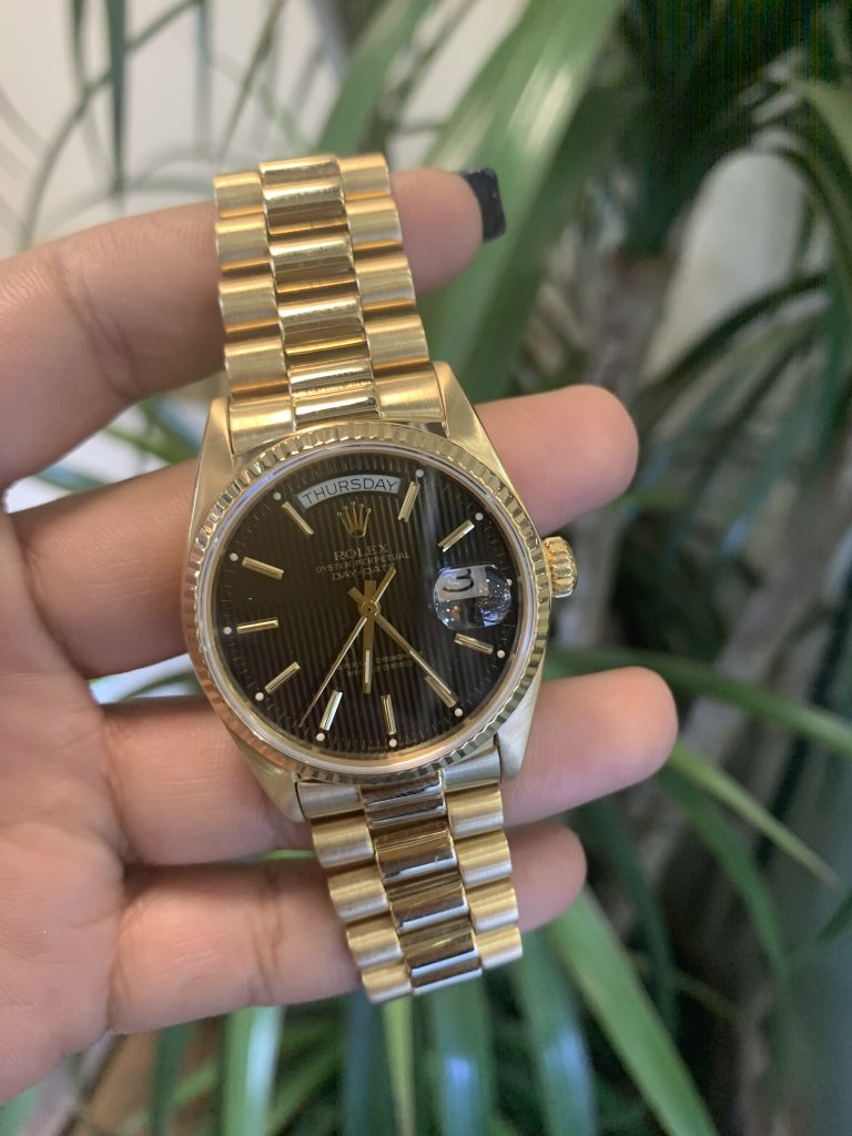 rolex presidential day date watch black dial