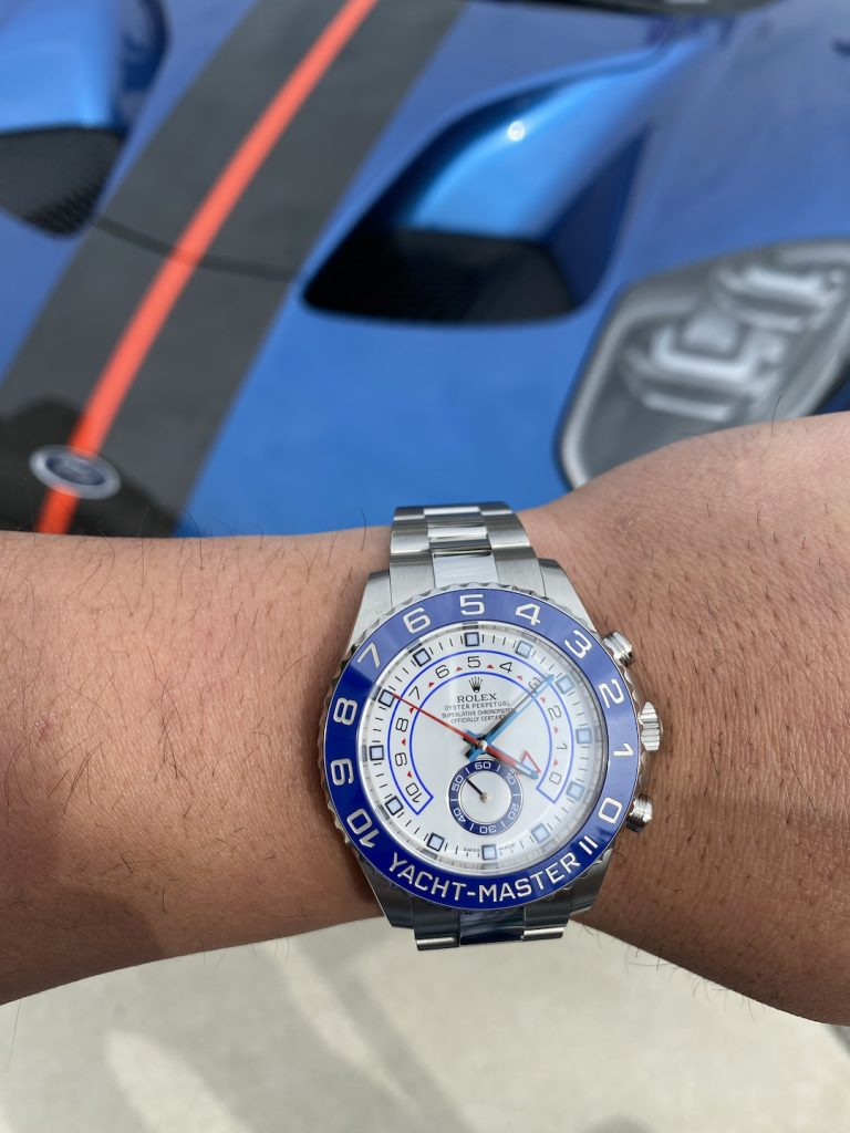 stainless steel yachtmaster II blue