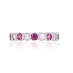 14k White Gold 0.30ctw Diamond and 0.30ctw Pink Tourmaline Eternity Band