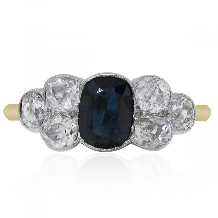 Old european diamond and sapphire ring