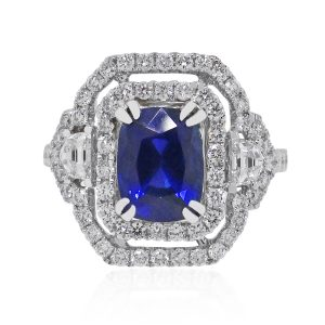 Synthetic sapphire diamond ring