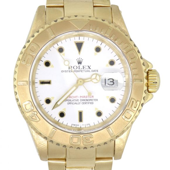 gold yachtmaster white dial for sale