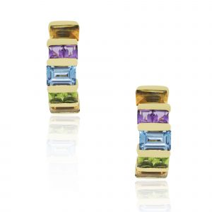 multi gemstone huggie earrings