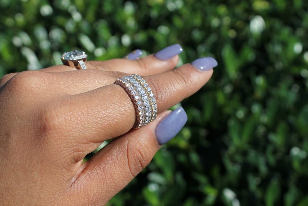 eternity ring and engagement ring
