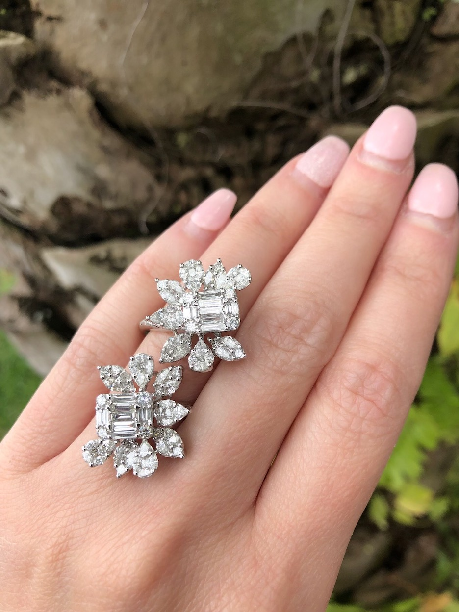 4 Big Baguette Centric Nature-Inspired Cluster Diamond Rings