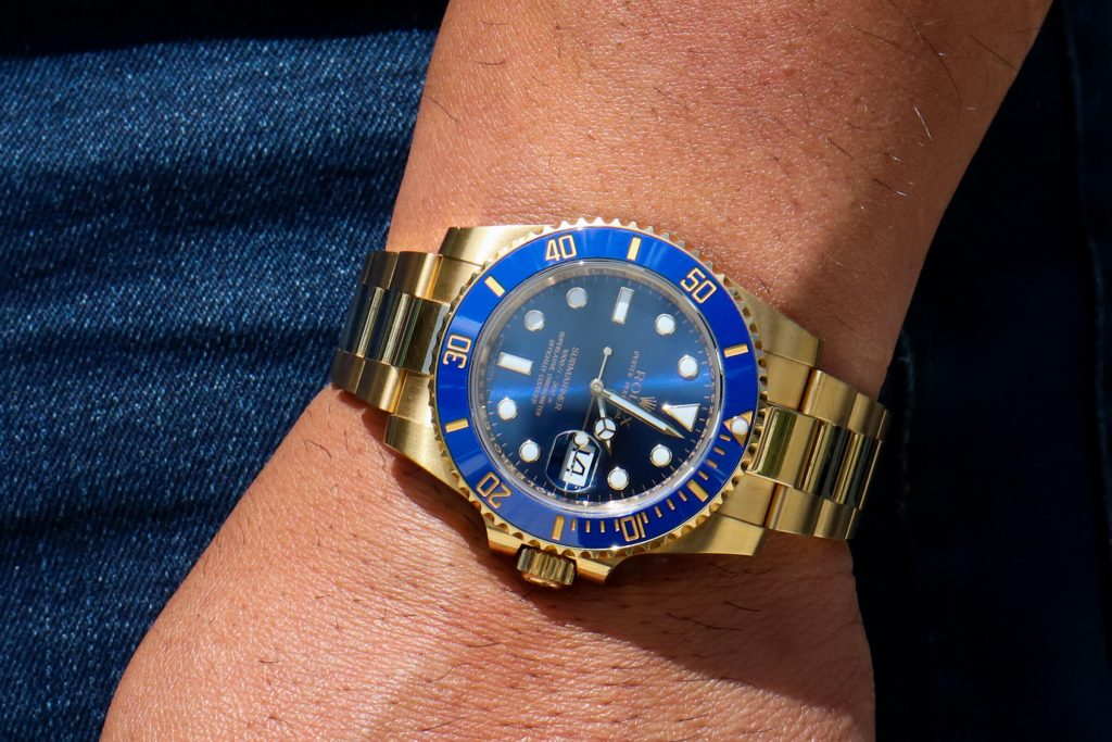 Rolex submariner yellow gold blue dial