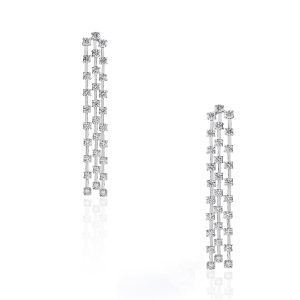 white gold 3 row diamond earrings