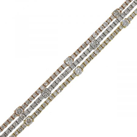 tri color gold tennis bracelet