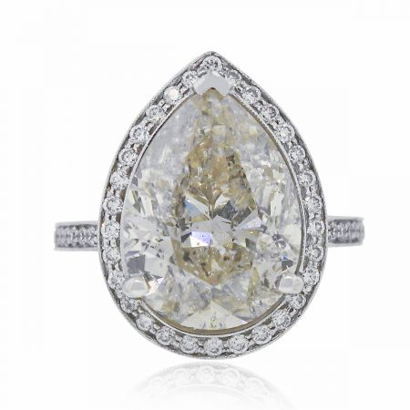 White Gold Pear Shape Diamond Engagement Ring