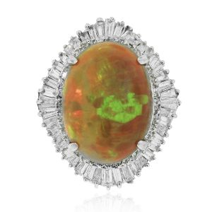 GIA Certified Opal and diamond ring