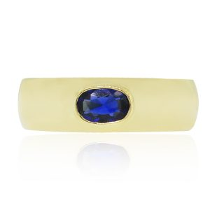 yellow gold sapphire band