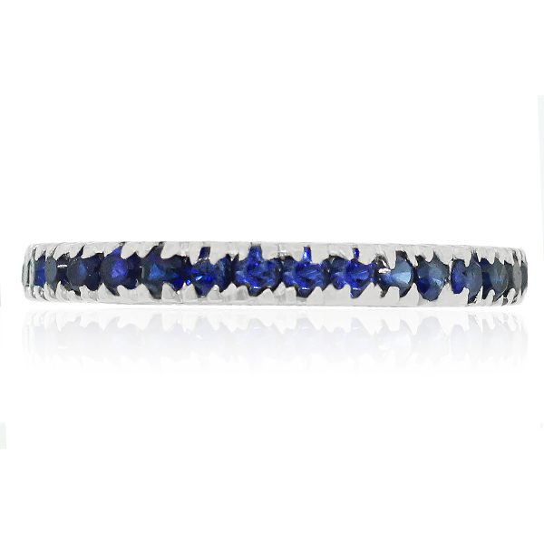 White gold blue sapphire band