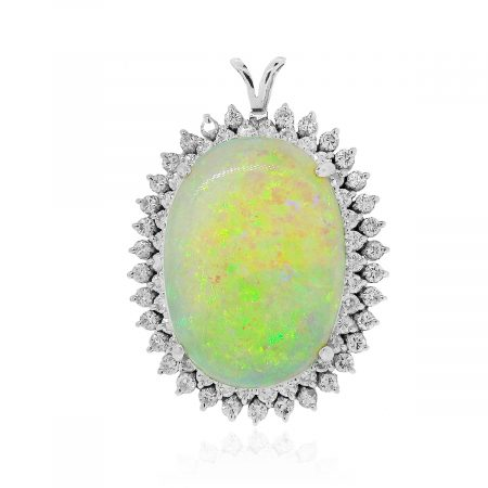 White gold opal diamond pendant