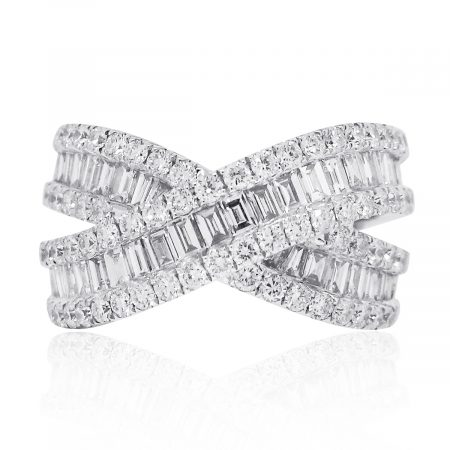 18k White Gold 2.17ctw Round Baguette Diamond X Ring
