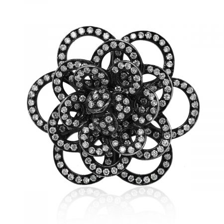 18k White Gold 2.70ctw Black Diamond Rose Ring