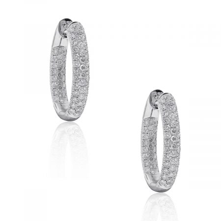 18k White Gold 3.30ctw Diamond Inside Out Hoop Earrings