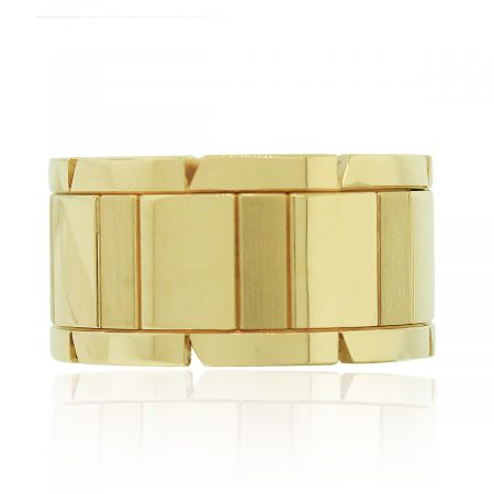 Cartier 18k Yellow Gold Tank Francaise Size 60 Wide Ring
