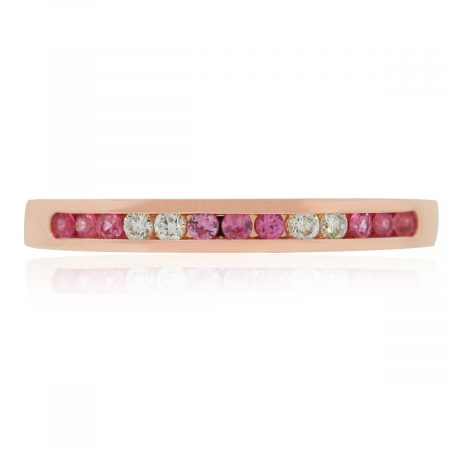 14k rose gold diamond sapphire stackable band