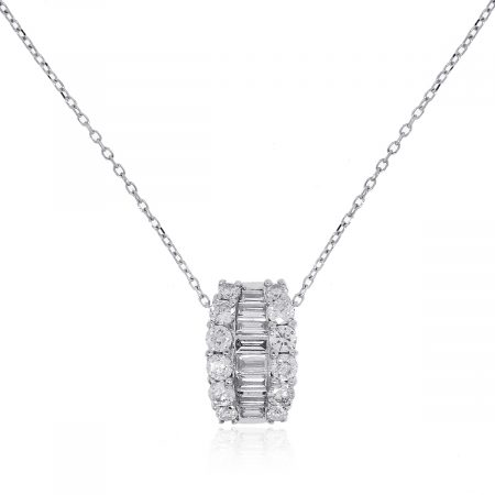 18k White Gold 0.74ctw Diamond Pendant Necklace