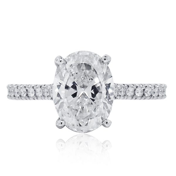 Platinum 2.53ct Diamond Oval GIA Ceritified Engagement Ring