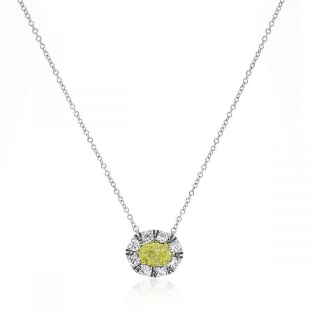 18k Two Tone 0.50ctw Fancy Yellow GIA Certified Halo Pendant Necklace