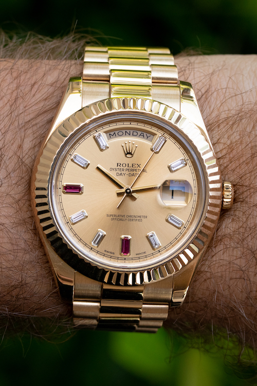 Rolex president with rubies and diamonds