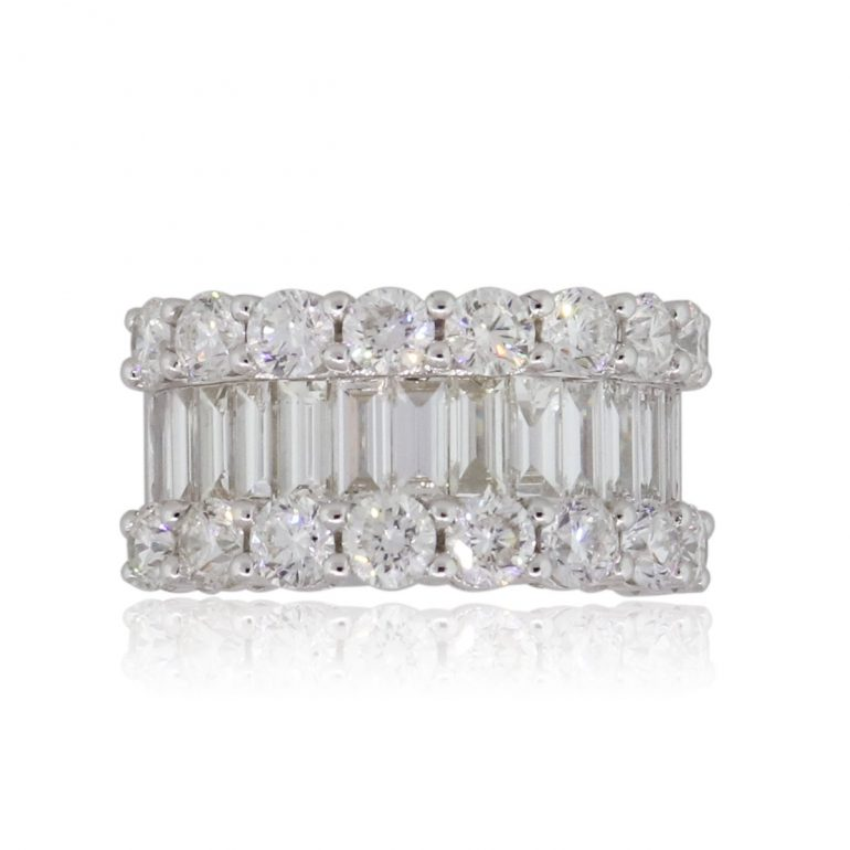 baguette and round brilliant ring