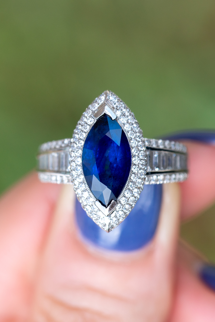 Marquise cut sapphire ring