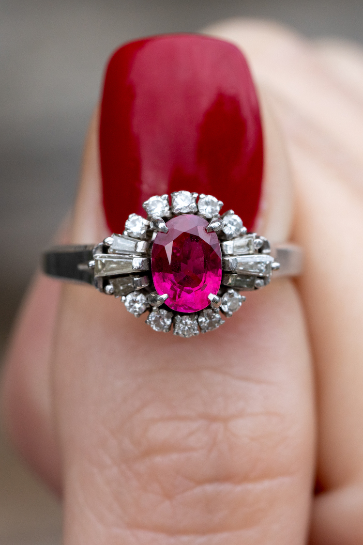 rubies ring with diamond side stones