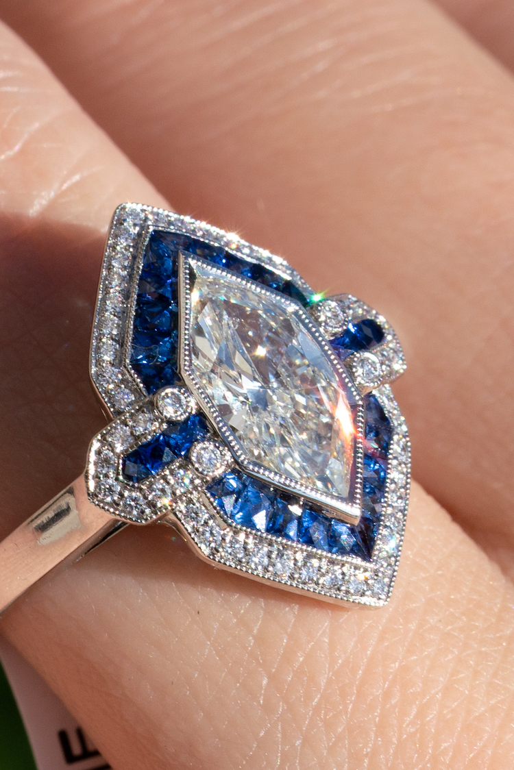 sapphire rings with diamond side stones
