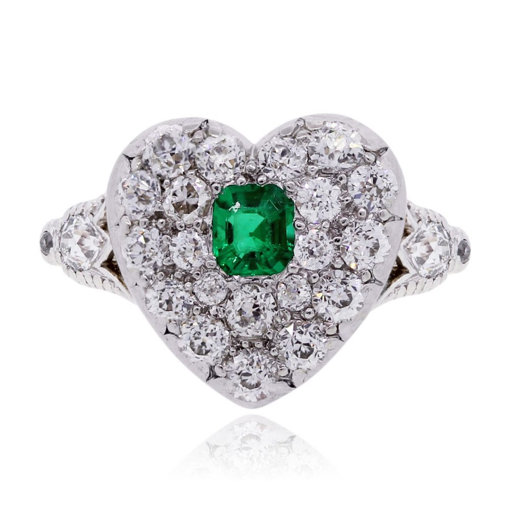 heart shape ring with small diamonds
