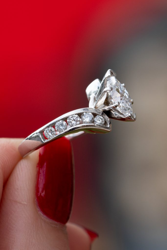 Marquise-shaped diamond engagement rings